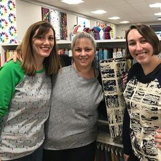 #sewday at @bluebarquilts today! Made  #lindensweatshirt with these gals. @daynasjourney @briannastw  Yeah, those are Christmas lights on mine. 😎🎄🎅🏻 #lindenlove #christmasclothes #memade #sewingwithknits #grainlinestudiotrina_petersonlindenlove,sewday,memade,sewingwithknits,lindensweatshirt,grainlinestudio,christmasclothes