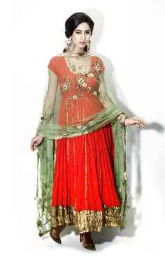 Red and green embroidered anarkali by Seema Khan. Bridal Anarkali Suits, Vintage Outfits, Vintage Clothing, Pakistani Outfits, Indian Bridal, Asian Fashion, Indian Wear, Modest Fashion, Designer Dresses