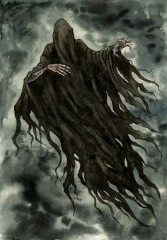 "Dementor by Līga Kļaviņa (~liga-marta, Latvia) : ""Lovely Dementor - one of my most favourite creature from Harry Potter. "" traditional- watercolor"