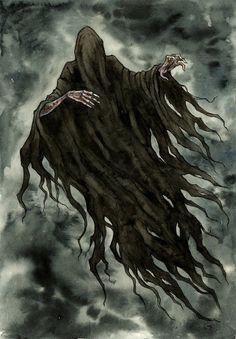 "Dementor by Līga Kļaviņa (~liga-marta, Latvia) : ""Lovely Dementor - one of my most favourite creature from Harry Potter. "" traditional- watercolor"