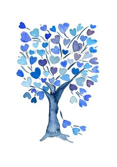 Blue Hearts Tree art Print personalized art by TheJoyofColor