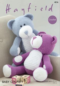 Hayfield 4836 Crochet Teddy Bear leaflet Crochet Pattern in