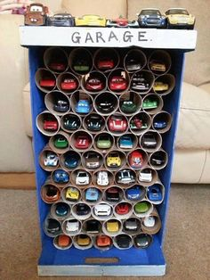 Stop throwing away empty toilet paper rolls. Here's 11 ways to reuse them around the house DIY: toy car garage, toilet paper roll craft, boys toy room organization. Projects For Kids, Diy For Kids, Wooden Projects, Easy Crafts For Kids, Toddler Crafts, Easy Projects, Project Ideas, Toy Car Storage, Craft Storage