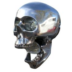 Skull Motorcycle Headlight made from high polished aluminum.