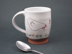 You can't have it 'cause I just bought it! BRWAAAK! Ceramic Chicken Mug by my friend Anna - ClothnClay.etsy.com