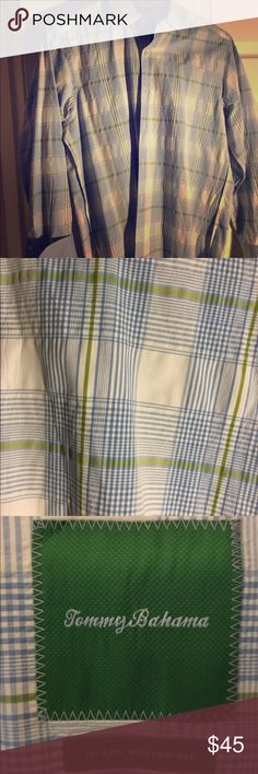 Men's Tommy Bahama shirt ⬇️ PRICE DROP ⬇️ Tommy Bahama long-sleeved shirt. Nice light blue, light olive green and white check pattern Tommy Bahama Shirts Casual Button Down Shirts