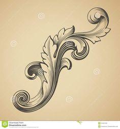 Baroque Design | Vector vintage Baroque design frame pattern element engraving retro ...