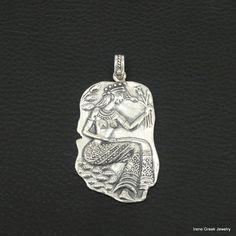 BIG RARE DIMITRA GODDESS 925 STERLING SILVER GREEK HANDMADE ART PENDANT #IreneGreekJewelry #Pendant