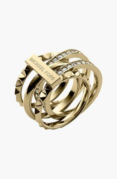 Can't get enough of this Michael Kors bling! Wear them together or separate the shiny pieces to create three rings. Click above VISIT link to find out Jewelry Box, Jewelry Accessories, Fashion Accessories, Fashion Jewelry, Jewlery, Gold Jewelry, Mk Handbags, Handbags Michael Kors, Michael Kors Bag