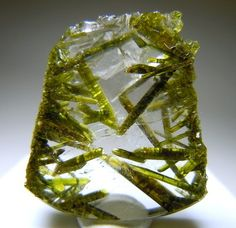 Quartz with green Epidote crystals inside