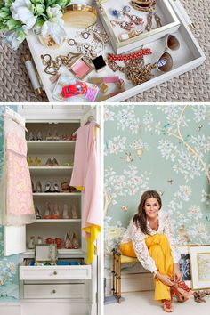 Aerin Lauder's dressing room featuring wallpaper in an almost gray, not quite blue floral from @gracieinc via Elle.com