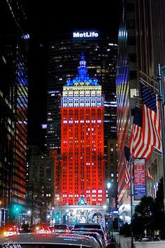 Helmsley Building LED Lighting in Red, White, Blue and Yellow
