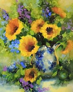 Sparkle Sunflowers and Delphiniums by Texas Artist Nancy Medina, painting by artist Nancy Medina