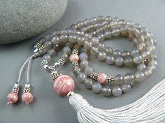 Rodocrosita granos de Mala, Mala de borla, meditación granos, 108 granos, granos de rezo, borla collar, piedras preciosas perlas de Mala,…