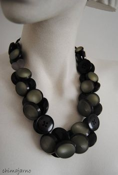 Chimajarno, by Chiara TrentinShopTherapy Button Crafts, Black And Grey, Beaded Necklace, Jewelry Making, Stones, Diy, Handmade Necklaces, Jewels, Diy Necklace