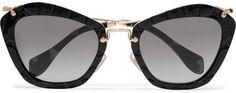 Miu Miu - Cat-eye Croc-effect Acetate And Gold-tone Sunglasses - Black