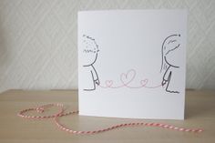 Cute Lovey Dovey Card Red String of Fate by drawnbyYU on Etsy, £2.80