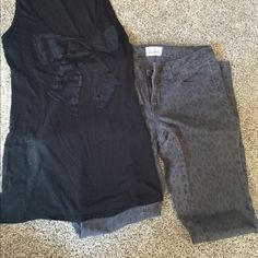 Cheetah jeans outfit Top is a black cotton tank with a lace now on front, from f21 size small. Jeans are a 3regular from Aero, super comfy and stretchy Aeropostale Other