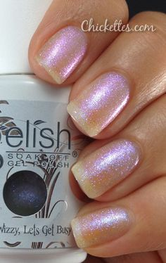 Gelish Izzy Wizzy Lets Get Busy Color Swatch - put this over a dark blue - it looks amazing~