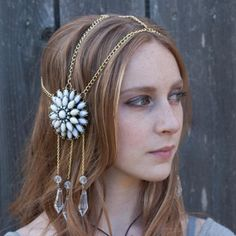 White Chain Headdress by DevinWillowDesigns on Etsy, $60.00