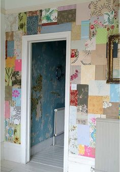 Wallpaper samples patchwork wall via Little Blue Deer