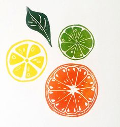 Citrus slice original linocut print featuring Lemon, Orange, Lime and Lemon leaf. This print is guaranteed to brighten any kitchen! Inspired by my mediteranean heritage, This print reminds me of the bright colourful fruit prints I would find hanging in my Italian relatives kitchens. Printed onto 250gsm archival paper using safe wash oil based relief inks. I hand mix all my colours as I dislike to use colours straight from the tube. This gives me greater control to get my colours looking…