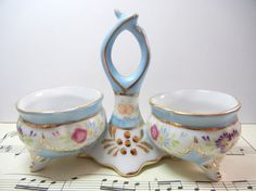 Items similar to Rare double open salt / Limoges China mark / flowers and gold trim / salt cellar / Spring brunch / Pretty / mothers day on Etsy Limoges China, Pink And Purple Flowers, Antique Glass, Vintage China, Gold Paint, White Porcelain, Vintage Items, Hand Painted, Antiques