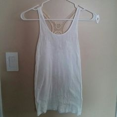 NWOT: White Tank Top Never worn white tank top w/ tan crochet design in back Tops