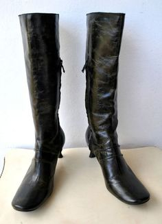 COSTUME NATIONAL Dark Green Leather Knee-high Boots Italy RRP $3000 ~ Interesting