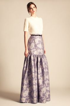 Temperley London, Cruise '14, Classic Heather Textured Jumper and Long Rosa Jacquard Skirt