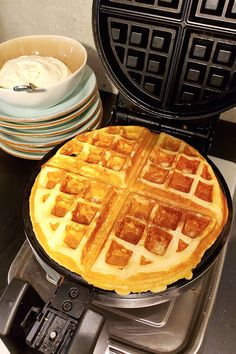 Create light fluffy waffles with deep pockets for filling with syrup and fruit by taking the extra step of separating the egg yolks from egg whites while making the batter. Fluffy Waffles, Belgian Waffles, Egg Yolks, Egg Whites, Recipe Of The Day, Syrup, Brunch, Yummy Food, Deep