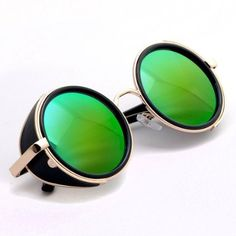 Hot Steampunk Retro Style 50s Silver & Black Frame Green Round Mirror Lens Glasses Blinder Sunglasses