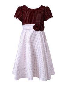 Wine & White Pin Dot Puff-Sleeve Dress - Toddler & Girls #zulily #zulilyfinds