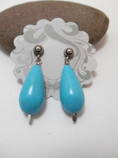 Earrings : Silver Chalk Turquoise Earrings