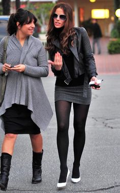 Photos of Kate Beckinsale and Family Urban Outfits, Chic Outfits, Sexy Outfits, Pantyhose Outfits, Estilo Rock, Fashion Tights, Kate Beckinsale, Celebrity Dresses, Mode Inspiration