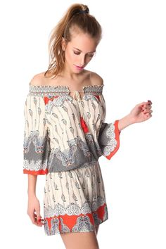 Beige off the shoulder romper in paisley print