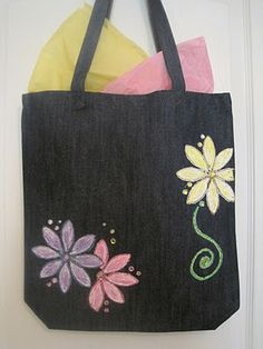Paint, glitter, and jewls on denim tote bag - by Brenda Star Studios