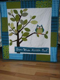 Owl crib quilt 'Grow Wise Little Owl'.