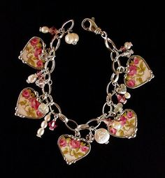 Broken China Jewelry Heart Charm Bracelet by dishfunctionldesigns
