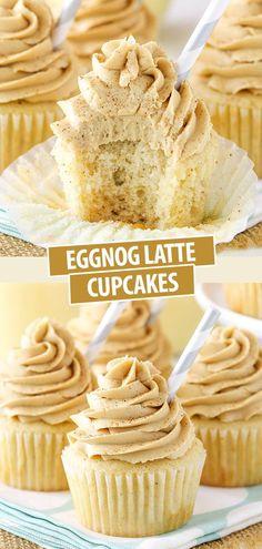 These Eggnog Latte Cupcakes are made with an eggnog cupcake and coffee espresso frosting! They are soft, moist and delicious for the holidays!
