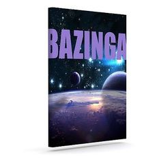 KESS Original Bazinga Purple Space Outdoor Canvas Wall Art 8x10in, New