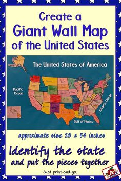 Engage your students in this hands-on activity to construct a map of the United States. Creative Teaching, Teaching Tools, Teaching Ideas, Kids Education, Special Education, Map Puzzle, Math Jokes, United States Map, Wall Maps
