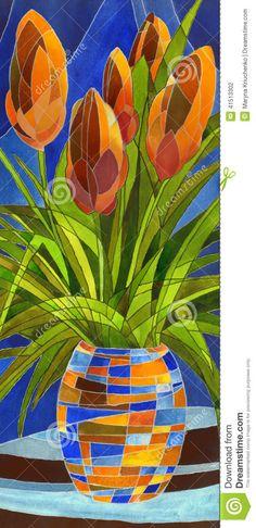 Абстрактные цветы в вазе сток иллюстрации. Иллюстрация жанра-41513302