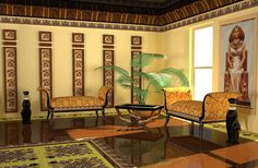 egyptian interior style calls for dark wood wall decoration and furniture