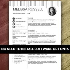 Items similar to Resume and Cover Letter Template on Etsy Cover Letter Teacher, Cover Letter For Resume, Cover Letter Template, Letter Templates, Resume Template Examples, Resume Template Free, Creative Resume Templates, Resume Layout, Resume Writing