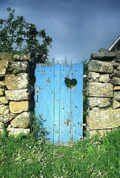 Turquoise fence with heart cut out