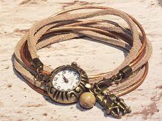 Wunderschöne Vintage Leder Armbanduhr in fantastischen Herbsttönen, angefertigt aus kupferfarbenem Rundleder- & Velourlederriemen.