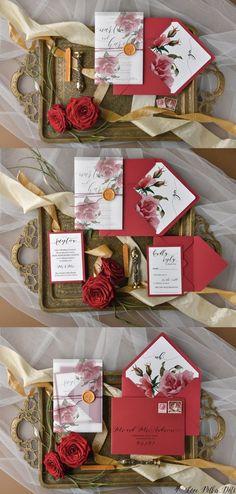 Red roses wedding invitations for fall winter weddings #redwedding #weddingideas