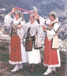Albanian Folk Costumes - Veshje Popullore Shqiptare.  Dropullite women festive dress. Goranxi. The 20-s of XX century.