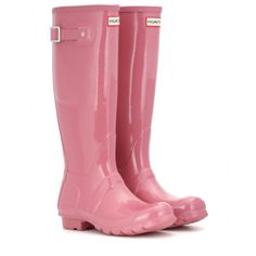 Hunter - Original Tall Wellington boots - Hunter has become the go-to brand for Wellingtons. With a balance of iconic heritage and understated cool, this glossy pink pair is a statement purchase. Make them even more covetable with a nonchalant parka and skinny denim. seen @ www.mytheresa.com